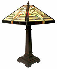TIFFANY STYLE TABLE LAMP 53CM PYRAMID ART DECO GLASS SHADE 30.5CM BUY 2 SAVE 10%