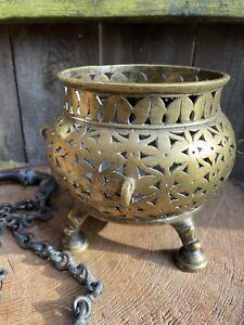 ANTIQUE Ancient BYZANTINE MOORISH BRONZE CHAIN CENSER incense burner thurible