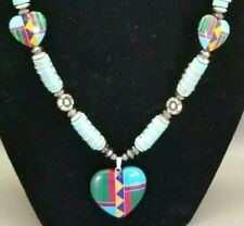 """Native American Handmade 24"""" Necklace with inlay Heart Pendant"""