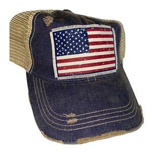 Vintage style America Flag Trucker Mesh Ball Cap Distressed Baseball Headmost