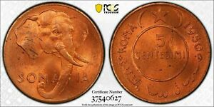 AH1369-1950 SOMALIA 5 CENTESIMI PCGS MS64RD GEM UNC FINEST GRADE WORLDWIDE!
