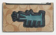 COACH x Keith Haring 'Barking Dog' Signature Canvas Zip Card Case Slim Khaki NWT