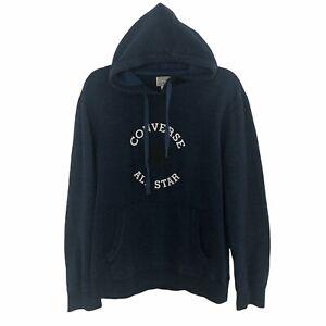Converse All Star Logo Blue Hoodie Hooded Sweatshirt Size Large