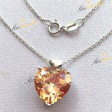 5.6ct Simulated Champagne Diamond Real 925 Silver Heat Pendant Chain Necklace