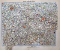 1943 Mapa Sajonia Y Oriental Thuringia Chemnitz Gorlitz Leipzig