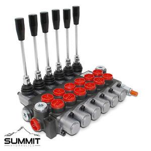 6 Spool Hydraulic Monoblock Double Acting Control Valve, 11 GPM, SAE Ports