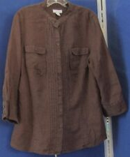 EUC Pretty CHARTER CLUB Brown TUNIC TOP 100% Linen w. PINTUCKS & Pockets Sz 14