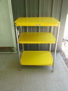 Vintage Cosco 3-Tier Bright Yellow Kitchen Cart - Retro