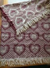 Woven Throw Blanket Fringed Afghan Hearts 54x46 Reversible Farmhouse Country