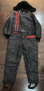 Vintage Mort Snowmobile Hooded Snow Ski Winter Suit Mens Sz Large Black Red Vtg