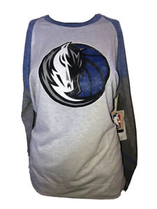 Dallas Mavericks Scrum Logo NBA Women's Top Raglan Shirt New 47 Brand