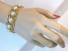 "Lovely Gold tone Multi Chain Faux White Pearl Bead 7"" Bracelet 7b 39"