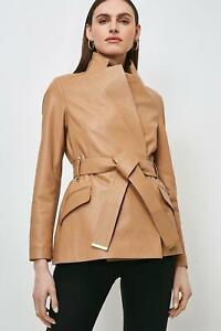 Womens Leather Trench Coat Tan 100% Lambskin Size S M L XL XXL 3XL Custom Made