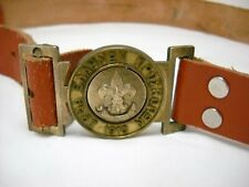 Vintage Greek Boy Scouts Brown Leather Belt Engraved Symbol #29