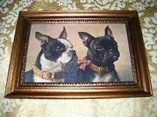 2 DOGS WEARING LEATHER COLLARS 4 X 6 gold framed picture Victorian style print