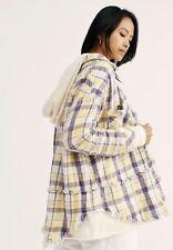 Free People Sweatshirt Top Jacket Hooded Buttondown Ivory Plaid Oversized S NWT