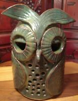 Vintage Ceramic Owl Candle Or Incense Cover Heavy I'm thinking Original art.