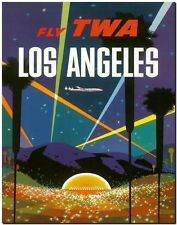 Retro Travel Poster *FRAMED* CANVAS PRINT ~ Los Angeles Night TWA 24x16""