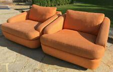 Pair of Heals Retro Orange Swivel Armchairs