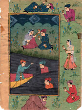Indopersische Malerei Badende Boot Picknick am Fluß 2. Hälfte 19. Jh. Gouache