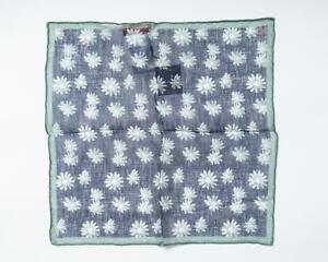 """Isaia NWT Navy Blue Green Floral 100% Linen Pocket Square 12.5"""" 33 cm"""