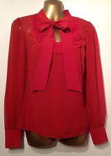 Karen Millen Silk Ribbon Appliqué Pussy Bow Blouse + Camisole Top HX057 A15W 10