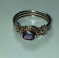 Sterling Silver Ring w. Faceted Med Dark Purple Amethyst Stone Size 6.75 US Size