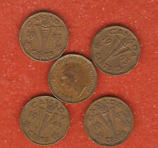 5 1943 canada tombac five cent coins E331