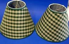 Set of 2 Green Homespun Handmade Lamp shade Lampshade