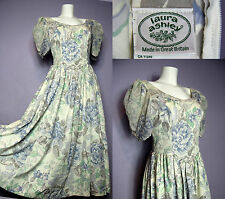 SALE 80's LAURA ASHLEY England Floral Summer Victorian Style Cotton Dress UK 14
