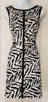 Womens Karen Millen Black White Animal Print Cutout Back Stretch Dress 12 Vgc.