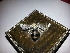 Bumble Bee bejeweled bronze burnished trinket box 2 5/16 x 1 3/8 vtg