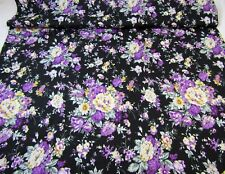 Cotton Fabric Large Purple Floral on Black Cabbage Rose Quilt Dress 3 YDS 56W