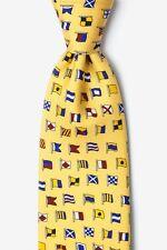 Mens Alynn 100% Silk Yellow A-Z International Nautical Code Flags Necktie Tie