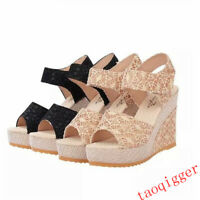 New Womens Open toe Platform High Wedge Heel Sandals Ankle Strap Slingback Shoes