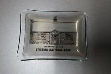 "Vintage Stissing National Bank Stanford Office Glass Trinket Tray 4 1/2"""