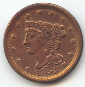 1853 Braided Hair Half Cent, XF Details, True Auction, No Reserve