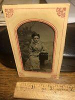Antique Civil War Era Victorian Women Tintype   Photo Photograph Vintage