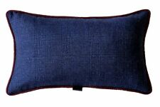 Blue Glen Plaid / Solid Navy Red with blue pattern silk piping, 48x28