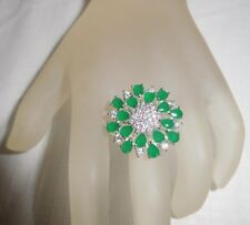 23 Ct.t.w. NATURAL COLOMBIAN EMERALD & WHITE TOPAZ FLOWER RING ~ SIZE 6.75