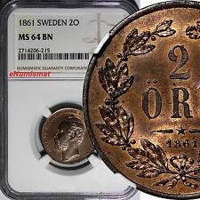 Sweden Carl XV Bronze 1861 2 Öre NGC MS64 BN NICE TONED TOP GRADED BY NGC KM#706