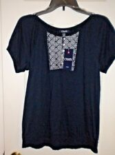 NWT CHAPS Ladies Large Navy Knit Top,  White Embroidery & Buttons SS SPRING/SUMM