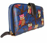 Miss Lulu Men's Designer Oilcloth Owl Spot Polka Dots 2 Folded Zip Wallet Pur...