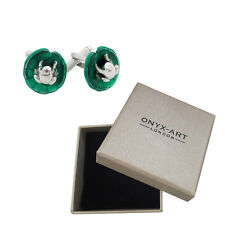Mens Round Frog On Lilly Pad Cufflinks & Gift Box By Onyx Art