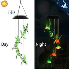 Color-Changing LED Solar Powered Hummingbird Wind Chime Hanging Light Yard Decor