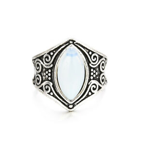 Silver Big Healing Crystal Rings For Women Boho Antique Moonstone Ring Jewelry