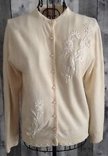 VTG 1950s Imperial Beaded Bling Cardigan Sweater Top Wool Angora Size 40/10