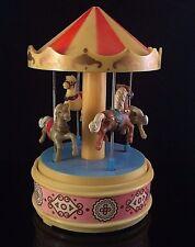 Carousel Yap'S Hong Kong 1970s Spinning Horse Music Box Plays Carousel Waltz Vtg