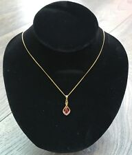 Ruby Necklace 9ct Gold Plated Silver Created Ruby & Diamond Teardrop Pendant