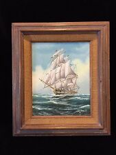 """M Grant Original Oil Painting Sailing Ship Clipper, Signed, Framed, 7 1/2"""" x 10"""""""